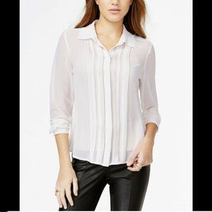 Guess Women's Pintuck Tuxedo Shirt, Long Sleeve